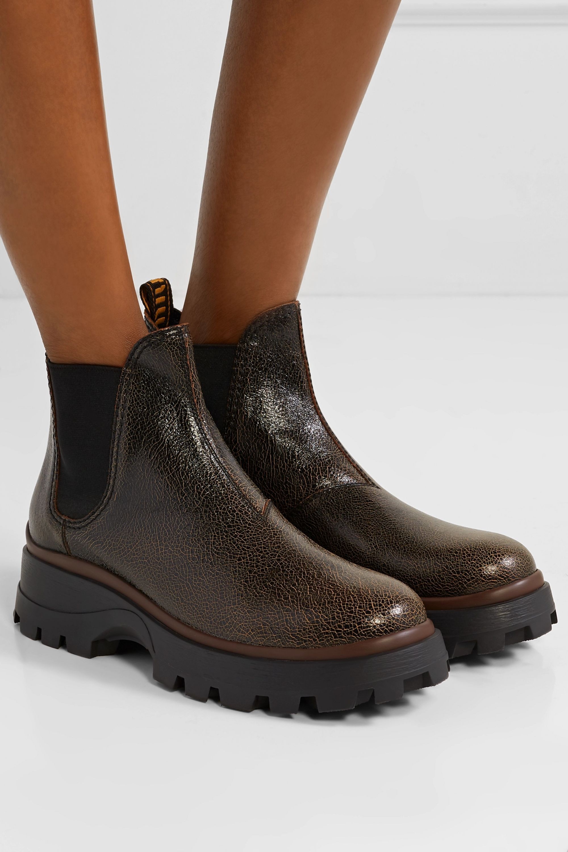 Miu Miu Cracked-leather Chelsea boots