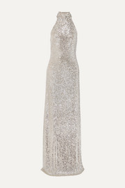Sequined tulle halterneck gown