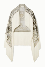 Fringed embellished appliquéd tulle cape
