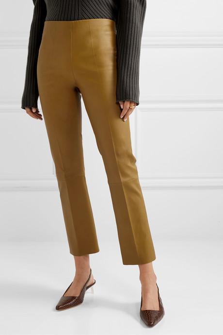 Florentina leather slim-leg pants