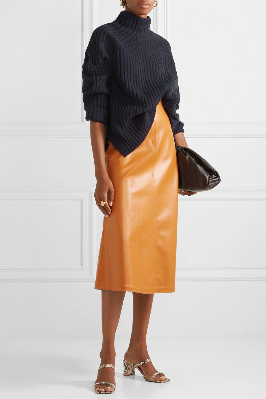 By Malene Birger Peach oversized ribbed wool-blend turtleneck sweater