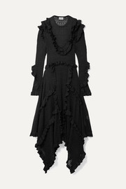 By Malene Birger Erna asymmetric ruffled pointelle-knit Lurex maxi dress