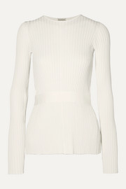 Geneva tie-detailed open-back ribbed-knit sweater