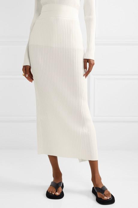 Esther ribbed-knit wrap midi skirt
