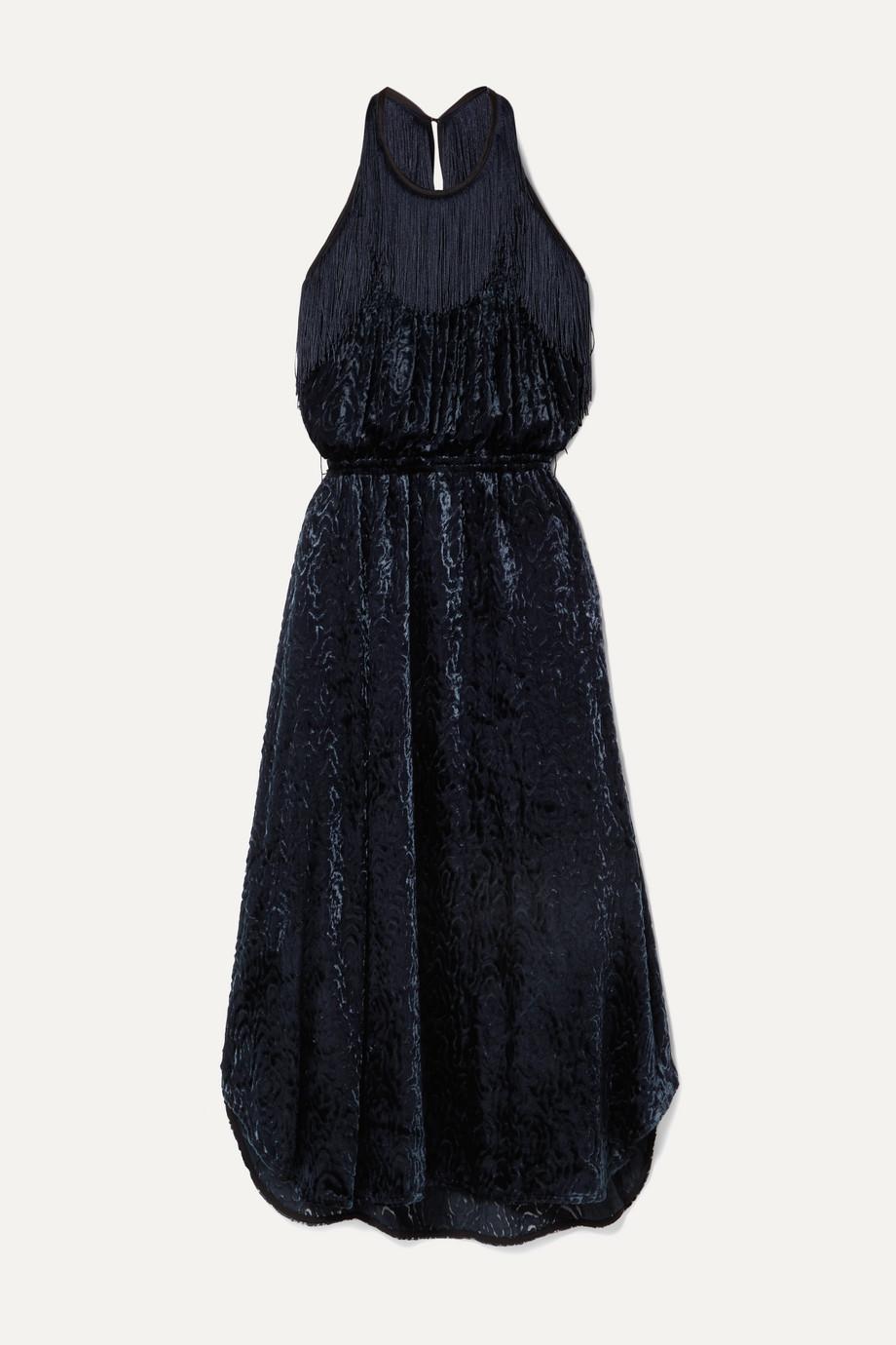 By Malene Birger Modena cutout fringed devoré-velvet halterneck dress