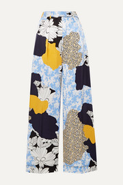 By Malene Birger Enil printed satin wide-leg pants