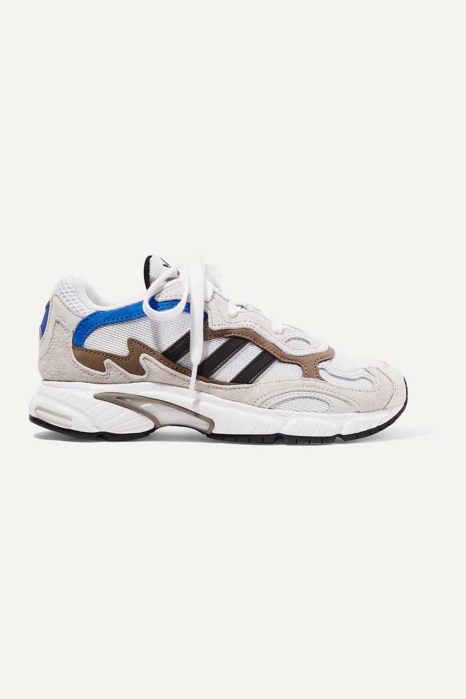 adidas Originals Temper Run leather-trimmed mesh and suede sneakers