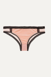 Ally Indulging lace-trimmed stretch-velvet and point d'esprit tulle briefs