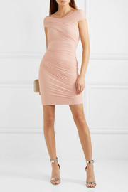 Off-the-shoulder wrap-effect ruched tulle and bandage dress