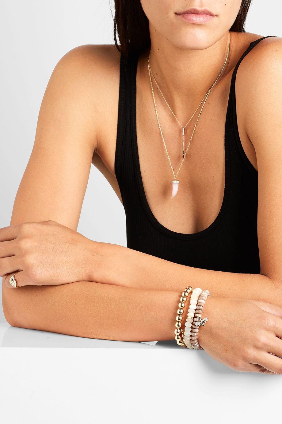 Sydney Evan Bee 14-karat gold multi-stone bracelet