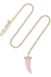 Sydney Evan 14-karat gold, opal and diamond necklace