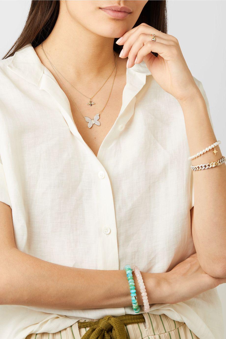 Sydney Evan Small Bee 14-karat gold diamond necklace