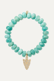 Sydney Evan 14-karat gold amazonite and diamond bracelet