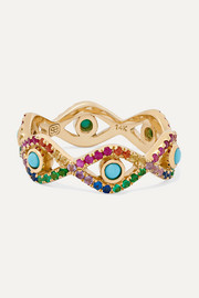 Evil Eye 14-karat gold multi-stone ring