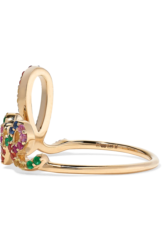 Sydney Evan Large Love Ring aus 14 Karat Gold mit mehreren Steinen