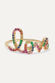 Large Love 14-karat gold multi-stone ring