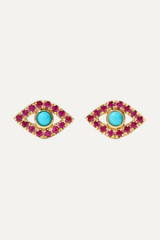 Sydney Evan Small Evil Eye 14-karat gold, ruby and turquoise earrings