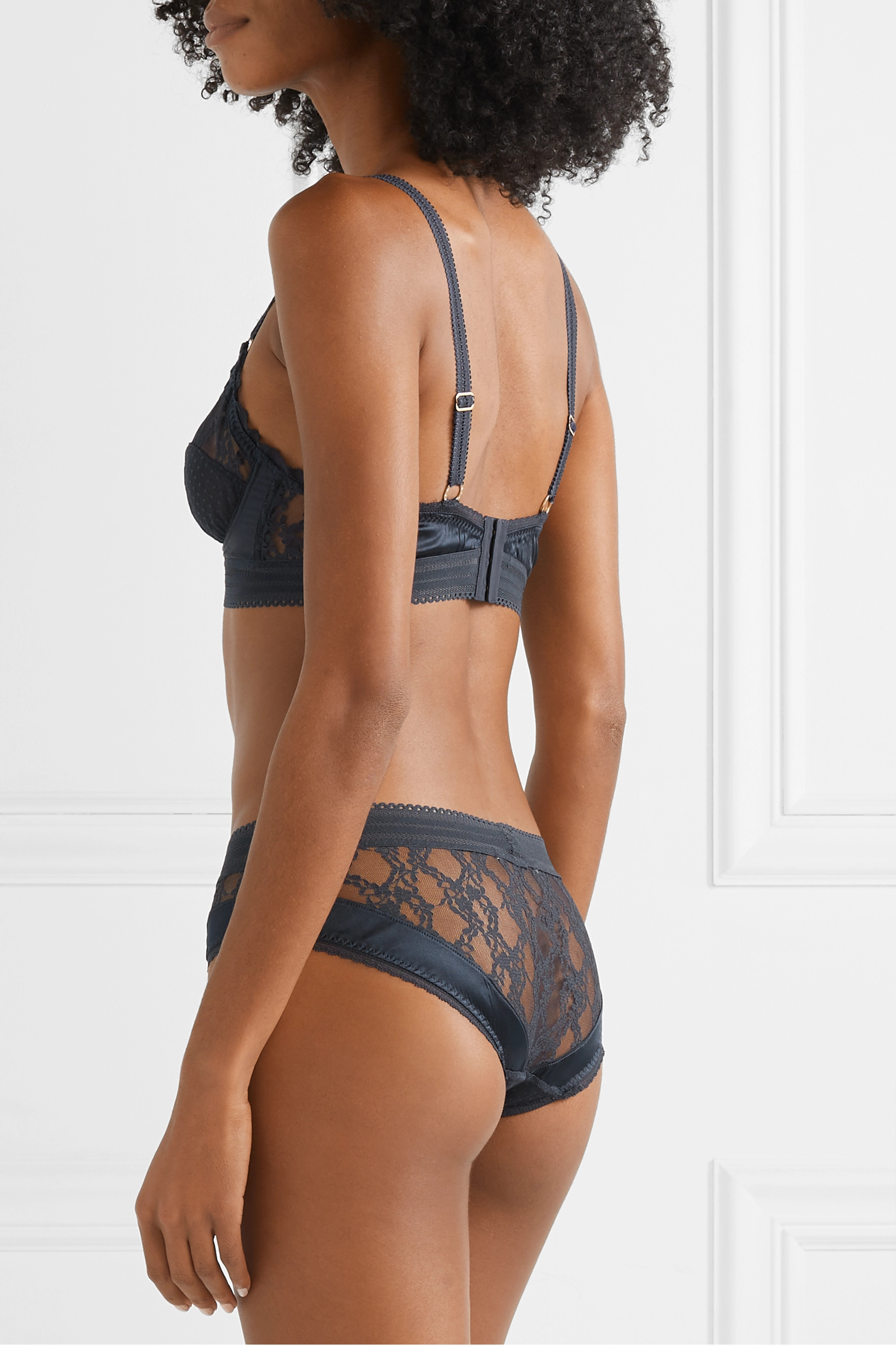 Stella McCartney Stephanie Cherishing satin-trimmed point d'esprit tulle and lace briefs