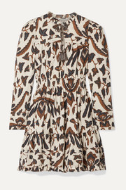 Ulla Johnson Ismaya tiered printed cotton-poplin mini dress