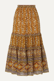 Ulla Johnson Thea printed fil coupé silk and Lurex-blend midi skirt