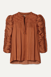 Ulla Johnson Lissa ruched embroidered charmeuse blouse