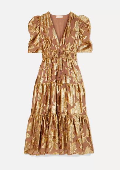 Ulla Johnson Dresses Loretta tiered devoré-chiffon midi dress