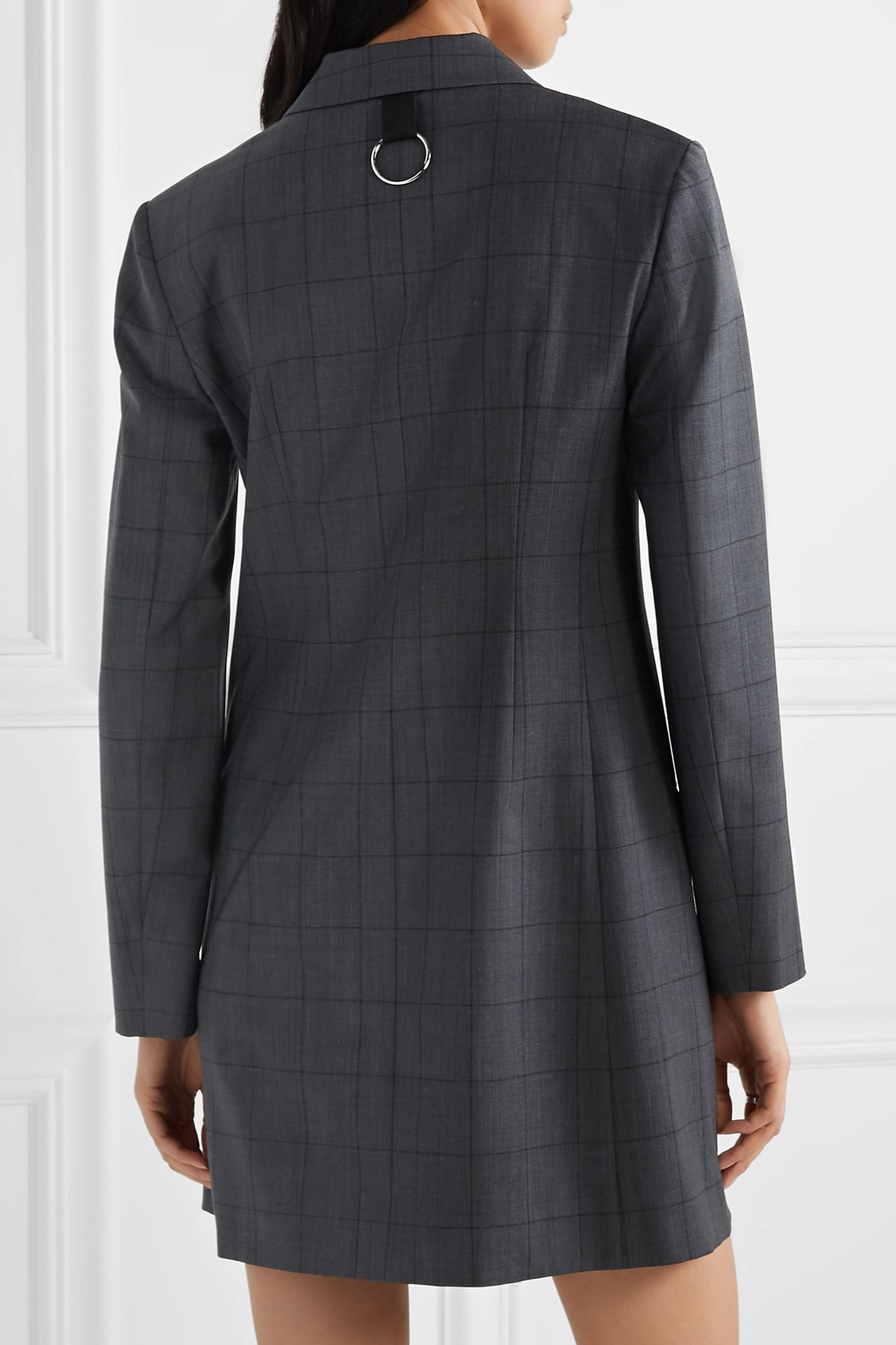Tibi Double-breasted checked wool-blend mini dress