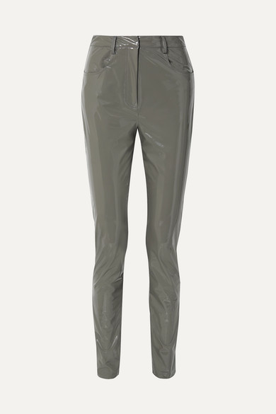 Tibi Skinny Tech Patent Trousers In Anthracite