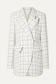Embellished checked woven blazer