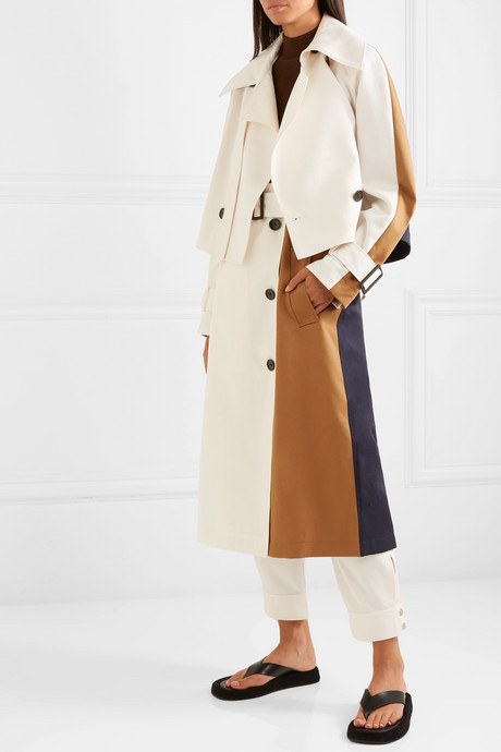 Convertible color-block twill trench coat