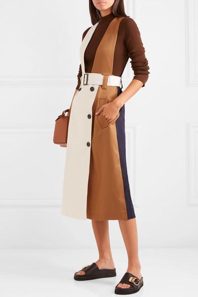 Tibi Coats Convertible color-block twill trench coat