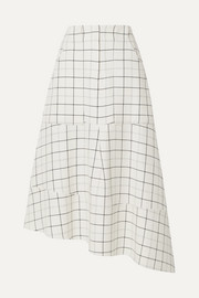 Asymmetric checked woven midi skirt