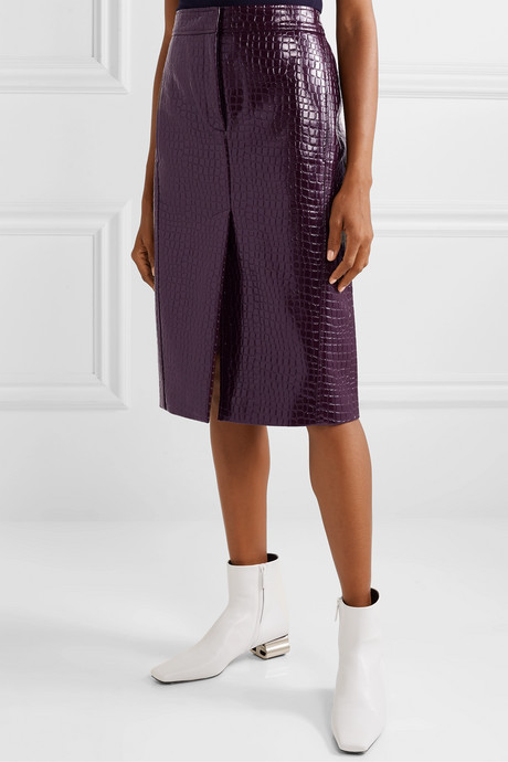 Croc-effect faux patent-leather midi skirt