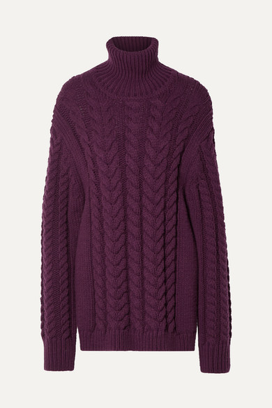 Tibi Open-back Cable-knit Wool-blend Turtleneck Sweater In Burgundy