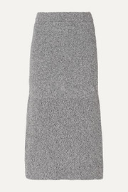 Fluted mélange knitted midi skirt