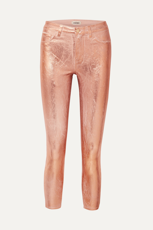 L'Agence Margot metallic coated high-rise skinny jeans