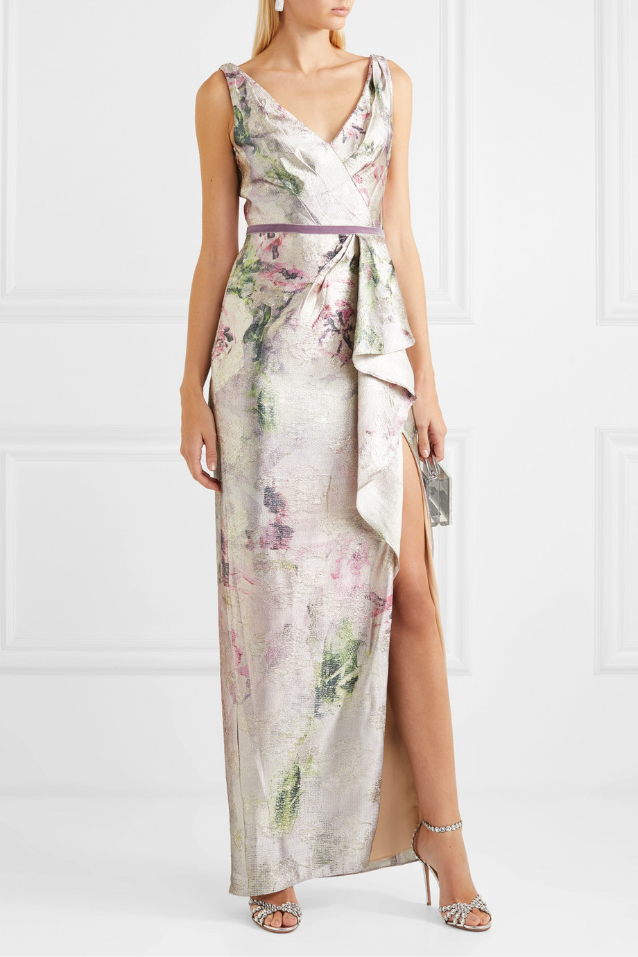 Marchesa Notte Draped velvet-trimmed metallic jacquard gown