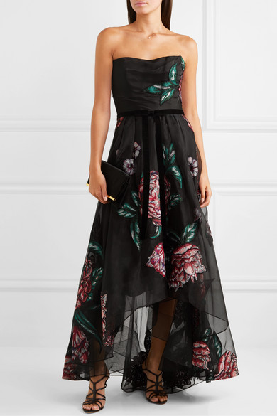 Marchesa Notte Dresses Strapless velvet-trimmed embroidered organza gown