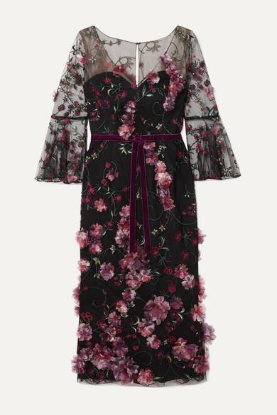 Marchesa Notte Dresses Velvet-trimmed appliquéd embroidered tulle midi dress