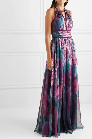 Marchesa Notte Dresses Appliquéd pleated floral-print chiffon gown
