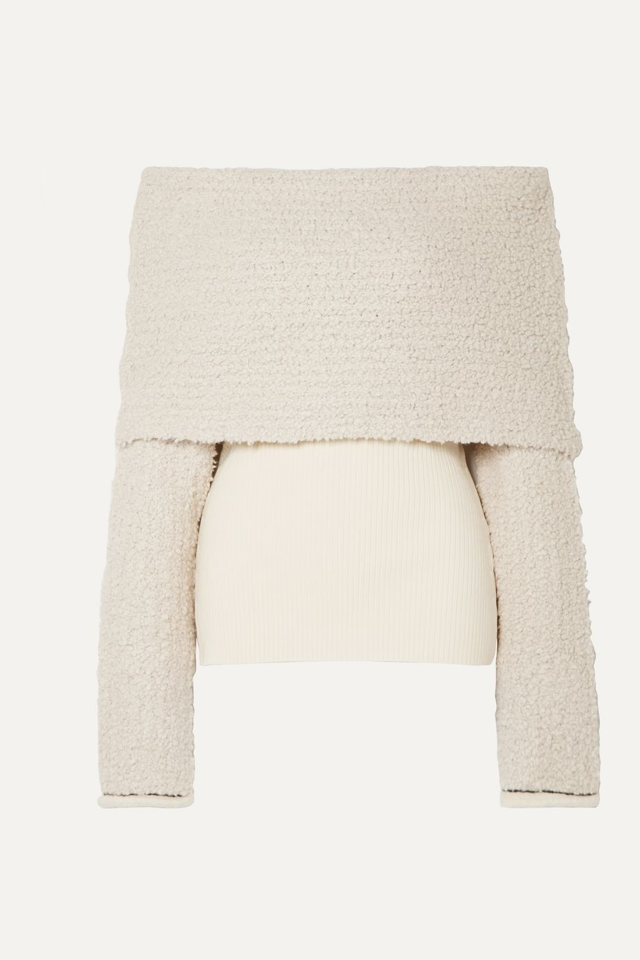 3.1 Phillip Lim Off-the-shoulder ribbed-knit and bouclé sweater