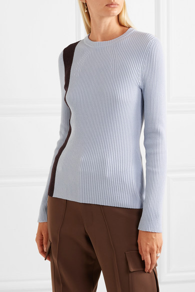 Striped Ribbed Stretch Wool Blend Sweater by 3.1 Phillip Lim