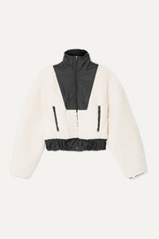 3.1 Phillip Lim Cropped shell-paneled wool-blend fleece bomber jacket