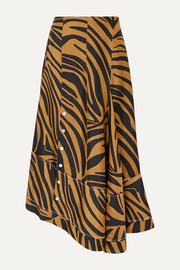 3.1 Phillip Lim Asymmetric zebra-print silk-twill skirt
