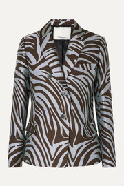 3.1 Phillip Lim Cotton-blend zebra-jacquard blazer