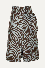 3.1 Phillip Lim Belted cotton-blend zebra-jacquard midi skirt