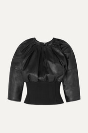3.1 Phillip Lim Ribbed knit-trimmed gathered leather top