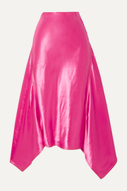 Darby asymmetric satin midi skirt