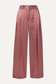 Sies Marjan Blanche belted pleated satin-twill wide-leg pants