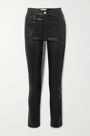 FRAME Le Sylvie high-rise slim-leg leather pants